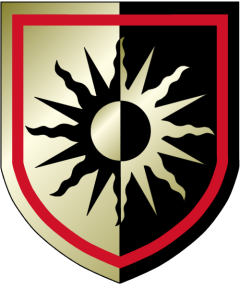 """Per pale, Sable and Or, on a Sun in its Glory, a Rondel, all counter changed, an Orle gules."""