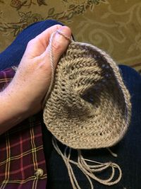 Naalbinding making my 1st hat.jpg